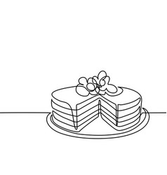 continuous line drawing of big cake vector image
