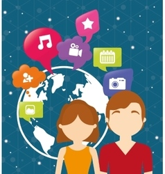 couple world communication social media vector image