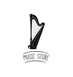 harp music instrument music store logo vector image