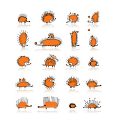 hedgehog collection sketch for your design vector image vector image