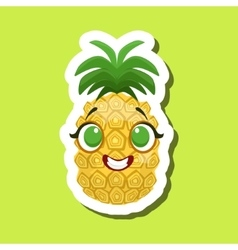 Pineapple Smiling Happily Cute Emoji Sticker On vector image vector image
