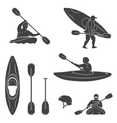 set of extrema water sports equipment kayaker and vector image vector image