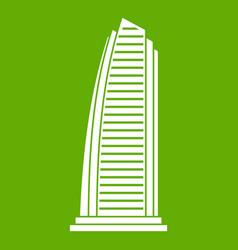 skyscraper icon green vector image vector image