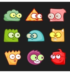 cartoon funny monsters set vector image vector image