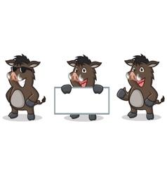 Dark Brown Wild Pig Mascot happy vector image vector image