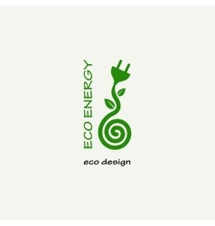 Eco Energy Symbolic sprout plant spiral and plug vector image vector image