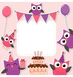 Party owls pink card vector image vector image