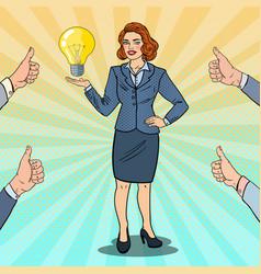 pop art happy business woman with creative idea vector image vector image