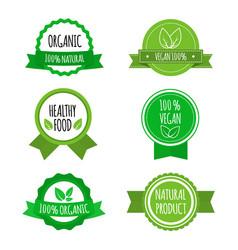 set of vegan badges icons labels organic vector image vector image