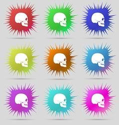 Skull icon sign A set of nine original needle vector image