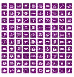 100 e-commerce icons set grunge purple vector