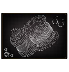 3d model of gears on a black vector image