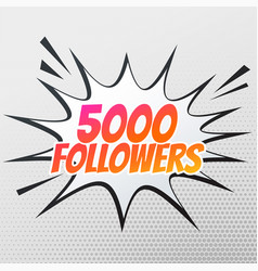 5000 follower success template in comic style vector