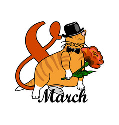8 march greeting card with a cat and flower vector