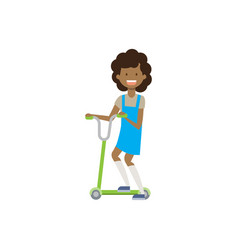 african young girl riding kick scooter over white vector image
