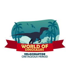 banner world of dinosaurs prehistoric world vector image