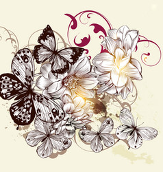 Beautiful pattern with butterflies vector