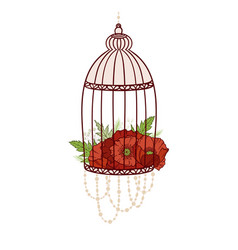Bird cage with bloom poppies vector