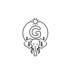 Black line art elephant head with g initial vector