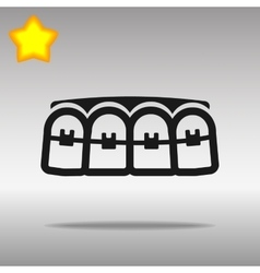Black teeth braces Icon button logo symbol concept vector