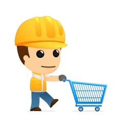 Builder with shopping cart vector