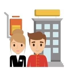 Building bellboy and receptionist hotel vector