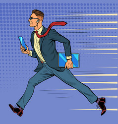businessman hurries and runs timeline working vector image