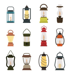 Camping lantern oil lamp collection vector
