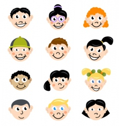 children face vector image vector image