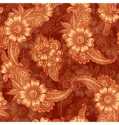 Chocolate colors floral seamless pattern in Indian vector image