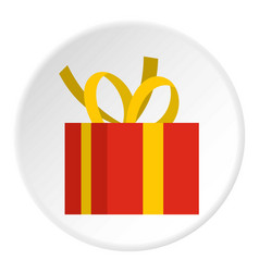 christmas box with yellow bow icon circle vector image