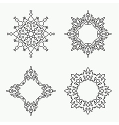 Christmas snowflake icon set Thin line signs vector image