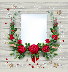 christmas swreath with flowers vector image