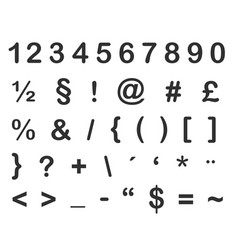 collection numbers and glyphs icon shape vector image
