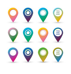 colorful map marker with blank space and text sign vector image