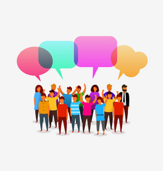 Colorful social network people with speech bubbles vector