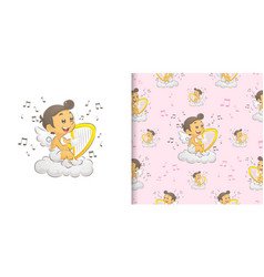 Cupid sitting and playing harp vector