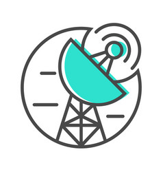 Data stream icon with satellite dish sign vector