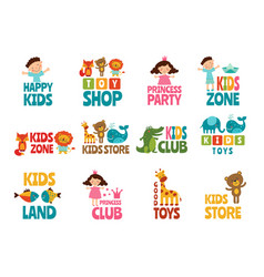 Different logos for kids with funny colored vector