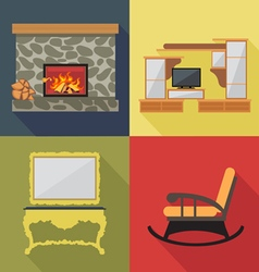 Fireplace home decoration icon set flat style Digi vector image