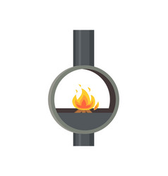 Fireplace made of metal material iron stove icon vector