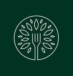 Fork tree food leaf round line outline monoline vector