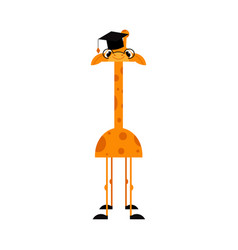funny giraffe cartoon character with long neck in vector image