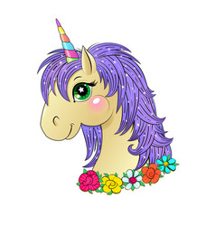 funny unicorn head vector image