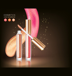 Glossy lipstick cosmetic concept vector