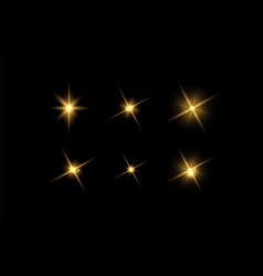 glowing light effects set stars bursts vector image
