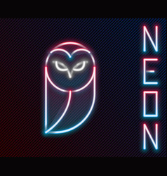 Glowing neon line owl icon isolated on black vector