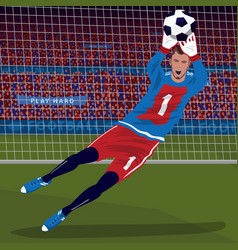 Goalkeeper catching ball in fall vector