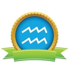 Gold Aquarius logo vector image