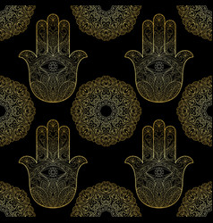 gold hand fatima with mandala seamless pattern vector image